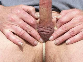 Just showing my hard little cock ! My balls are tucked inside and i tied a string around to keep them there ! I like the looks of my empty,wrinkled ball sack !