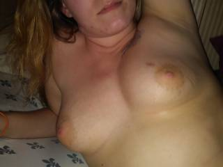 Her beautiful tits and face. Would you let my gf bounce on your cock?