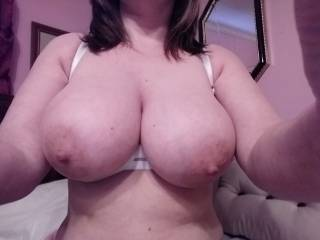 Wife showing her boobs off