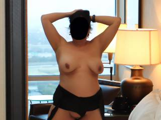Posing nude in the hotel room mirror!