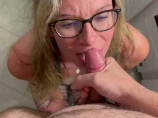 Brought the hubby into bathroom so I could take in his yummy cock and win my cum prize.