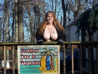 Who else thinks enjoing her big tits is Paradise? It is another day in paradise when she is being frisky and flashing her sexy body I must tell you.
