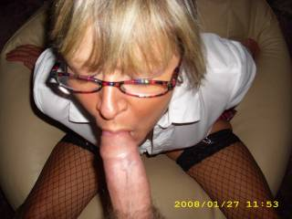 this teacher ( hahah ) knows how to suck cock her hands are behind her which means she use her mouth well  more please   ur fortunate great woman here