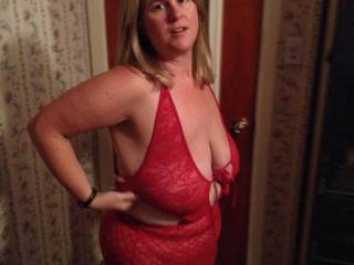 My girlfriend and I went lingerie/toy shopping today at an adult sex store. I asked if she could take some pics of me in it to send my hubby at work.  She said I look hot as hell. What do you think of it?