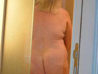 Kate just having a quick shower, after having sex in the shower in Rome.  Hope you like her ass, what do you think??