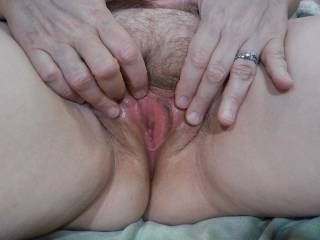 Stroking my clit before my husband pounds my pussy.