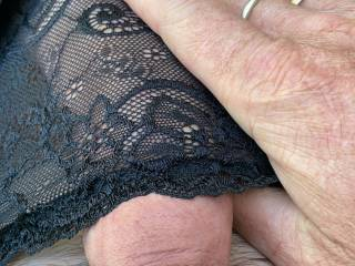 Wearing the wife's black lacy panties x