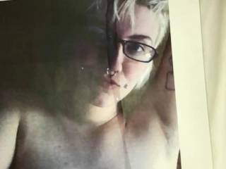 A tribute for Jbrownlmnop, as per your request. A massive load all over your face and tits.