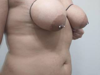 Feeling the pressure on my tits all the way up to my nipples made me so horny