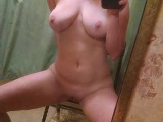 Wife posing for me. Or maybe trying to find another cock to play with...any takers?