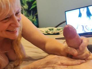Hubby got hard from the video. And I am so happy to take care of that hard and thick cock! Check out my video to see how I massage cocks. Do you need a massage, dear?