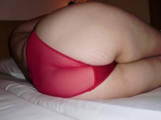 Hot ass in red undies.