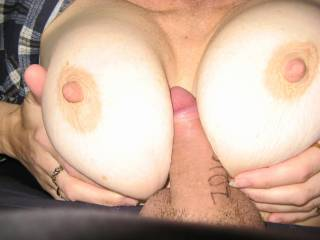 Is there room for my lips & my hubby's cock to make u both cum on those perfect tits!