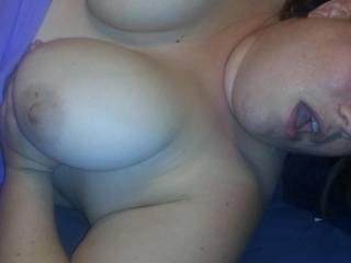 Sweet tits and an open mouth, nice