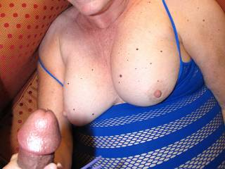 The bigger the load, the better...huh?  Mmmmmmm, I would certainly make sure that my cum craving sexy slut would get what she deserves!  So will you milk my cock too then with your other hand?