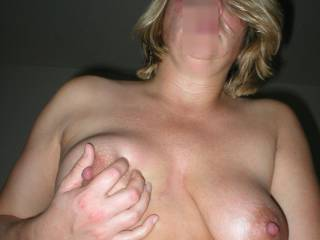 Hahahah squeeze hell....stuff that nipple in my mouth like you stuffed my cock in that sweet wet puss
