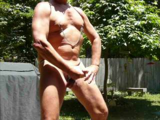 Having a hot masturbation session on my outdoor patio wearing my BunnG Gear! Visit my blog for more http://bunngman.blogspot.com/p/order-page_3.html