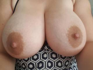 Morning happy snaps just finished milking them now I\'m so horny I need your milky cum on my tits, tounge and cream pie me