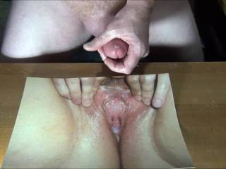 Could not stop jerking my throbbing hard cock and cumming on Redwoods spread open cum dripping pussy!