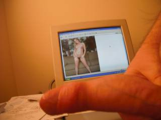 Great full frontal nude babe on the screen, eh?  Just had to include her in one of my dick lengthening pics!!!