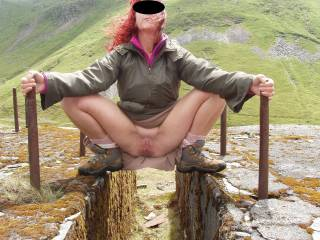 when we were in wales and I earned a good licking for this pose & a dam good fingering  we never saw anyone which was a shame because he spurted loads of cum in my face and made me walk back to the car like that, anyone want to add some cum to my face