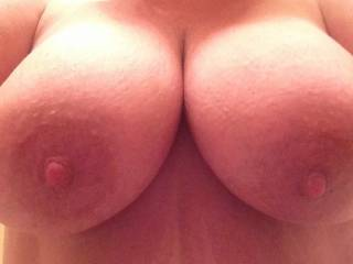 Those are so damn beautiful, I need both hands just to caress them and ohh how I could fill my mouth with nipple and tit, but want I want most is to slide my hard cock between your beauties!!