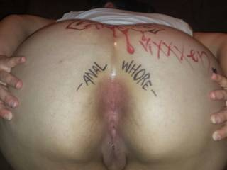 "Pure anal delight. A nice ""Fuck Me"" tattoo written around her asshole woul be the best gift she can give to her and to other males when she gets on her fours to be fucked and let others know her butt hole is completely available for them to fuck with out saying a word."
