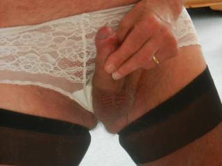 put lingerie on - instantly erect - need to wank