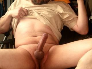 Shaved balls, horny and hard...