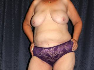 Posing puppies out in pretty purple panties for your pervy perusal. Please pull or part prior to prospective and purposeful pussy pounding by (im)patient for penetraion peter! (yeah, I'm done... possibly)
