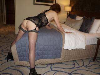 Bent over the bed, ready & waiting for ???
