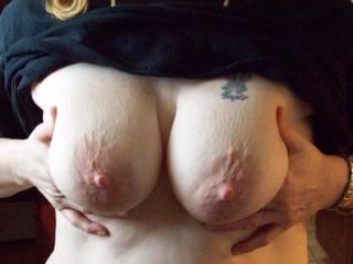 My wife having fun flashing me her tits