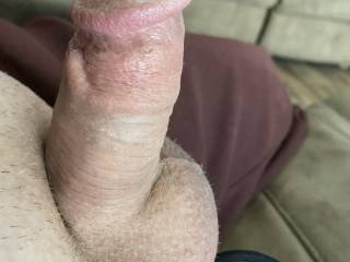 Side view of my big hard dick and big balls