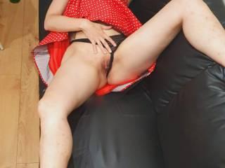 Alma posing in polka dot pin up dress showing us her beautiful pussy