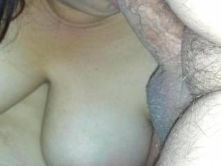 Seeing you sitting there naked checking out porn, how could he resist your cock sucking mouth?