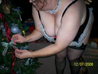 \'Twas the night before Christmas, when all through our house. Not a creature was stirring, not even a mouse; My stockings were hung from my garter belt with extra care, in hopes that St. Nicholas soon would be here....