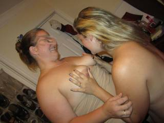Jes couldn\'t wait to play with Jen\'s tits. It was a great night.
