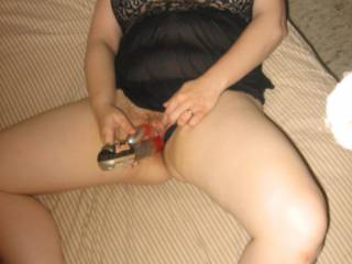 Posing for hubby while taking care of my clit