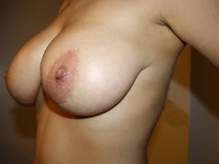 I certainly would as they're so big and shapely, love the crinkly skinned areola, vein tracery and nipples I'd love to suck. Your man is so lucky!