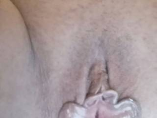 Her huge cunt lips open for business