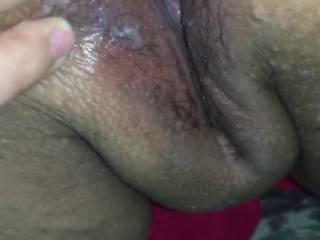 Fingering her creamy cum filled pussy