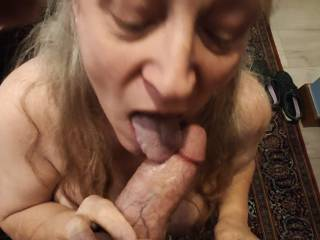 Just getting that last bit of cum in my mouth! My cum-covered tongue eagerly tries to get the last delicious drops. Mmm...
