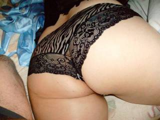 I'd like to pull those hot panties to one side and rub my cock along her slit from her clit to her ass - just a thought geoff
