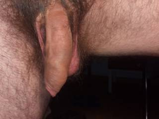 Nice long, thick uncut cock....love to take it in my mouth and feel it grow, head pushing into my throat,big balls resting on my chin