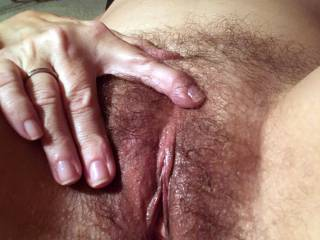Not everyone likes a hairy pussy. She use to shave it, but over the years I\'ve come to enjoy the look, feel and taste of a big wet hairy cunt. Hope you enjoy.