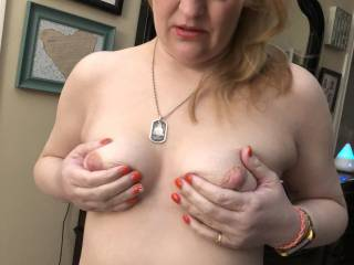 I love my nipples being pinched.  Some guys are afraid they are going to do it too hard.  Not me.  PINCH THEM!  Real tits love pinching for this girl!