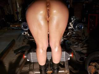 She says this hot rod is jus right height to hold on to while getting her asshole pounded