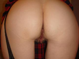 Wife bent over showing sexy ass and hairy pussy