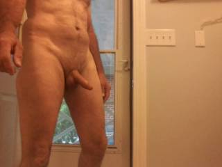My husband, coming in the house naked and semi hard after work, he gets undressed outside due to the virus. He loves being naked, especially outdoors! Who would like to be naked with him?