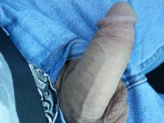 "seeing a guy 's cock hanging out his fly like that is so fucking hot ! !'d love to walk by your car ..have, you open your  door,so I can see your dick hanging out of your jeans  .. I get closer I crouch down you give me that ""GO FOR IT "" nod and start pushing my head down...."